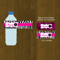 Hot Pink and Zebra Water Bottle Labels - Zebra Stripes and Pink Printable Water Bottle Labels