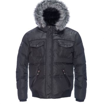 Down-Filled Oxford Jacket With Wax Coating And Detachable Hood - Point Zero