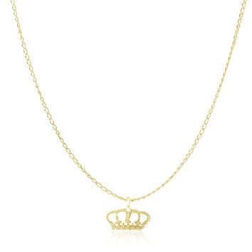 Fit for a Queen Detailed Crown Pendant + Necklace in 14k Yellow Gold ♔