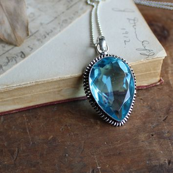 Blue Quartz Faceted Silvertone Necklace