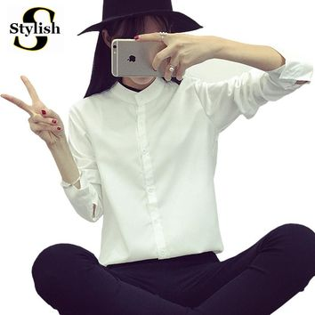 Shirts Women Blouse Long Sleeve New Arrivals 2017 Spring Korean Style Stand Collar Casual Slim Fit Ladies Office Clothing Femme
