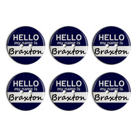 Braxton Hello My Name Is Plastic Resin Button Set of 6