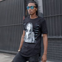 """Aaliyah """"Miss You"""" Extended Black Scallop Tee"""