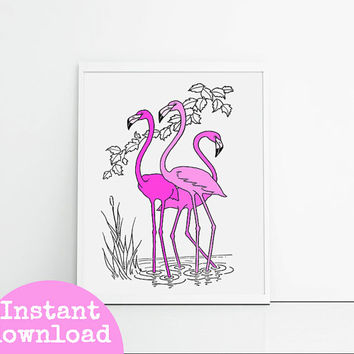 Printable Flamingo 8x10 Inch - Instant download - Bird Art - Pink, Girly Bedroom Decor Art - Pink, Black And White Art