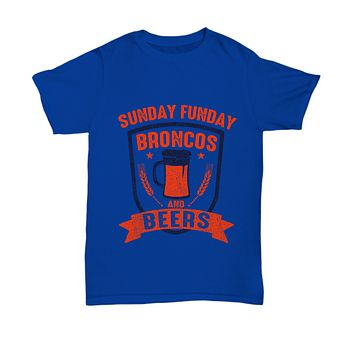 Sunday Funday Broncos And Beers Football T-Shirt