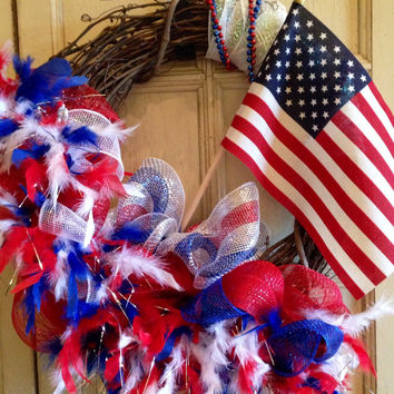 Patriotic Wreath, American Flag Wreath, 4th of July Wreath, Memorial Day Wreath, Military Wreath, American Pride, Support our Troops