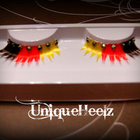 Rastafarian Reusable Eyelashes  Black Red & Yellow by UniqueHeelz