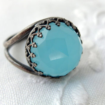 Chalcedony ring, Gemstone ring, Oxidized Stering silver ring, black silver cocktail ring, Aqua blue stone ring, Sea foam ring,antique silver
