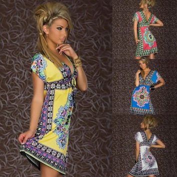 New Vintage Summer Dress Retro Women Bohemian Dress Paisley Print V-Neck Short Sleeve Beach Wear [7669208966]