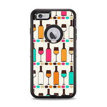 The Vectored Color Wine Glasses & Bottles Apple iPhone 6 Plus Otterbox Defender Case Skin Set