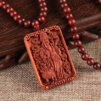 Genuine Blood Sandalwood Craved Necklace Guan Yu Dragon Phoenix Pattern Pendant Necklace Jewelry For Male Female Gift