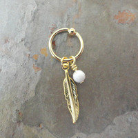 White Turquoise Cartilage Hoop Gold Feather CBR Earring Belly Button Jewelry