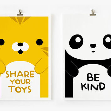 $16.00 Children Decor Good Manners Flash Cards Kids Wall Art by loopzart