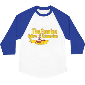 Beatles Men's  Yellow Sub Baseball Jersey Blue/White Rockabilia