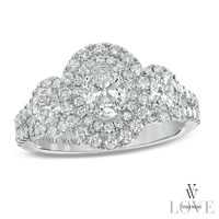 Vera Wang LOVE Collection 1-1/2 CT. T.W. Oval Diamond Three Stone Engagement Ring in 14K White Gold