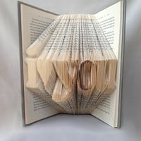 Book Art - Folded Book Art - I Love You Book Sculpture - Word Art - Home Decor - Origami - Unique Gift - Wedding gift - Anniversary Gift