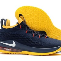 Nike LeBron 15 XV Low Navy/Yellow Basketball Shoe 40-46