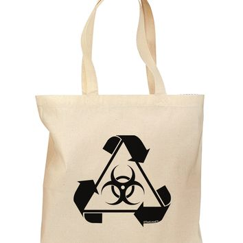 Recycle Biohazard Sign Black and White Grocery Tote Bag by TooLoud