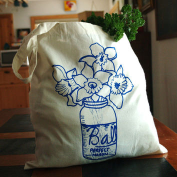 Farmhouse Bouquet  Tote Bag  Hand Screen Printed  by OneLaneRoad