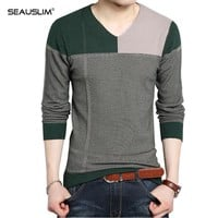 Seauslim Pullover Male Fashion Sweater Men V Neck Mens Sweaters for 2017 Red Black Striped Sweater Knitted Shirt LQ-NB-02