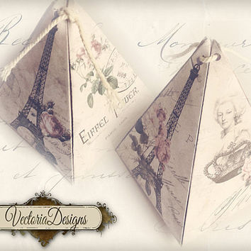 INSTANT DOWNLOAD Paris pyramid box vintage printable images digital collage sheet 397