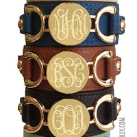 Monogrammed Genuine Leather Cuff Bracelet | Accessories | Marley Lilly