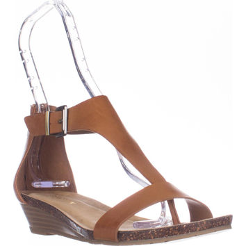 Kenneth Cole REACTION Great Gal T-Strap Wedge Sandals - Toffee