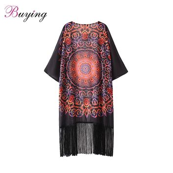 Bathing Suit Cover Ups Vintage Women Chiffon  Cardigan Geometric Print Fringed Tassels Loose  Outerwear Beach Cover Up