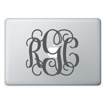 6x7 Laptop MONOGRAM wall decal (3 initial design) custom vinyl lettering sticker (W00931)