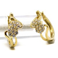 (1-2684-j6) Gold Plated Flower CZ Hoops, 23mm.