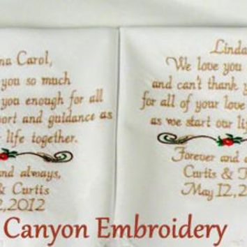Embroidered Wedding Handkerchief Wedding Gift Grandma & Mom Wedding Gift Embroidered Wedding Hankerchief Set of 2 Gifts By Canyon Embroidery