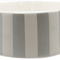 Nicole Miller Pet Ceramic Bowl, Silver Stripe, 5-Inch