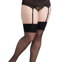 ModCloth Sassy Lady Garter and Thigh High Set in Black - Plus