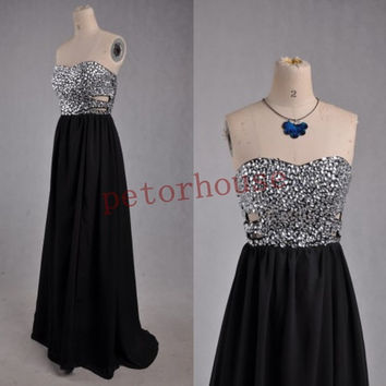 Black Crystals Long Bridesmaid Dresses 2015 with Peacock Necklace, Prom Dresses,Evening Dresses,Formal Party Dresses,Wedding Party Dresses,