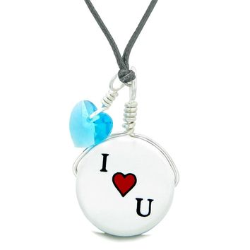 Handcrafted Cute Ceramic Lucky Charm I Love You Sky Blue Heart Amulet Pendant Adjustable Necklace