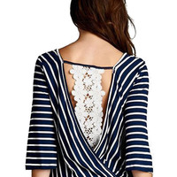 Navy Striped Wrap-over Top with Crochet Lace Detail