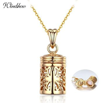 Hollow Out Filligree Cross perfume Bottle Essential Oil Diffuser Necklace Women Pingente Necklaces & Pendants Gold Color Jewelry