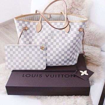 LV Women Shopping Leather Tote Handbag Shoulder Bag  and Wallet two piece a set