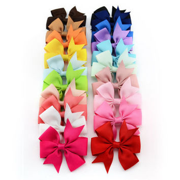 90a1e1debff9b 20PCS Girl Baby Bow Hair Clip Grosgrain Ribbon Boutique Bowknot Hairpin Child  Hair Accessories 2017 New