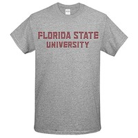 Value Priced Short Sleeve T-shirt with Block Florida State University Oxford