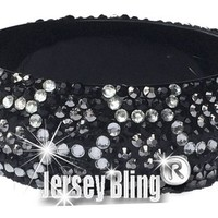 "Leopard Animal Print Crystal & Rhinestone Open Bangle 1 1/8"" Wide & Lightweight by Jersey Bling"