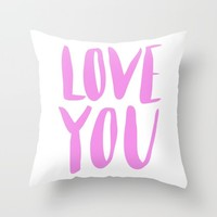 love you - purple lettering Throw Pillow by Allyson Johnson | Society6