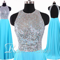 2015 Sparkling blue sequin long prom dress with open back,sweep-train wedding party dress,long formal dress,80s evening dress,RS1078