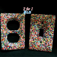 Candy Sprinkle Wall Switchplate / Double Outlet Set
