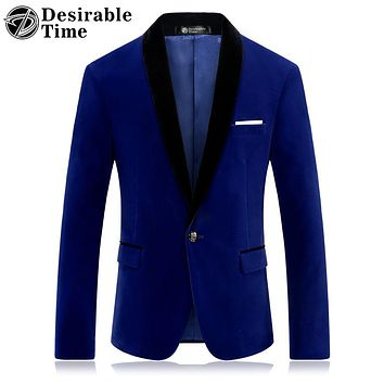 Royal Blue Prom Blazer for Men Fashion Stage Clothing for Singers Slim Fit Men Red Velvet Blazer Jacket