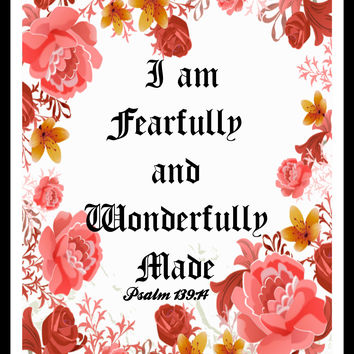 """I am Fearfully and Wonderfully Made"", Wall Decor, Unframed Printed Art Print Poster, Scripture Print, Motivational Quote"