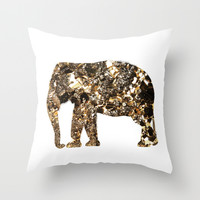 Gold Elephant Throw Pillow by Andreas Lie