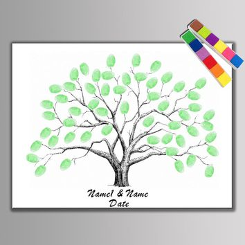 Hot! Canvas Wedding Tree Fingerprint Guest Book Wedding Gift Decor Party Supply Baby Shower Baptism First Communion With Inkpads