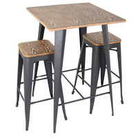 Oregon Pub Table/Stool Set, Medium Brown Top/Gray Finish
