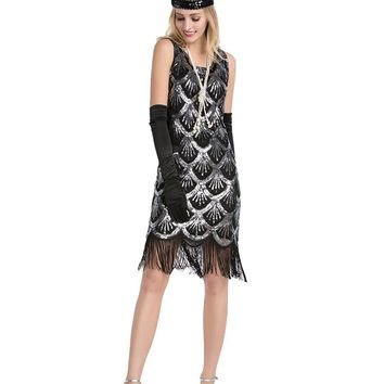 DlFASHION Women's 1920's Vintage Gatsby Art Deco Beads Sequin Fringed Flapper Party Dress
